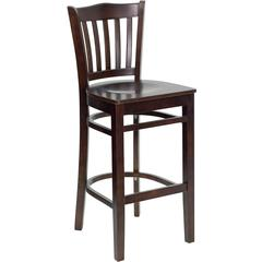 HERCULES Series Walnut Finished Vertical Slat Back Wooden Restaurant Barstool