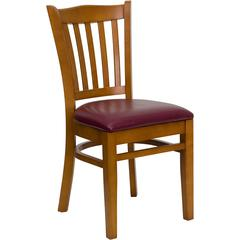 HERCULES Series Vertical Slat Back Cherry Wood Restaurant Chair - Burgundy Vinyl Seat