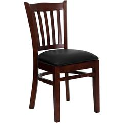 HERCULES Series Mahogany Finished Vertical Slat Back Wooden Restaurant Chair - Black Vinyl Seat