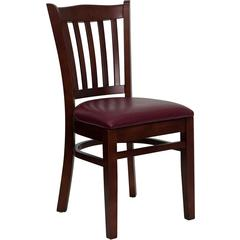 HERCULES Series Mahogany Finished Vertical Slat Back Wooden Restaurant Chair - Burgundy Vinyl Seat