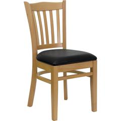 HERCULES Series Natural Wood Finished Vertical Slat Back Wooden Restaurant Chair - Black Vinyl Seat