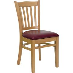 HERCULES Series Natural Wood Finished Vertical Slat Back Wooden Restaurant Chair - Burgundy Vinyl Seat
