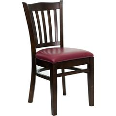 Flash Furniture HERCULES Series Walnut Finished Vertical Slat Back Wooden Restaurant Chair - Burgundy Vinyl Seat