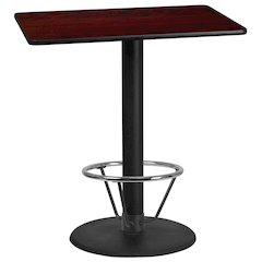30'' x 42'' Rectangular Mahogany Laminate Table Top with 24'' Round Bar Height Table Base and Foot Ring