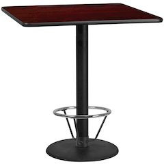 42'' Square Mahogany Laminate Table Top with 24'' Round Bar Height Table Base and Foot Ring