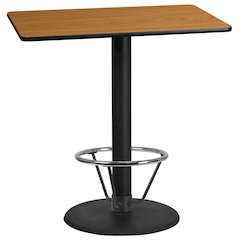 30'' x 45'' Rectangular Natural Laminate Table Top with 24'' Round Bar Height Table Base and Foot Ring
