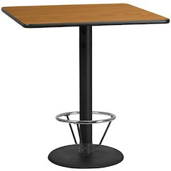 42'' Square Natural Laminate Table Top with 24'' Round Bar Height Table Base and Foot Ring