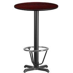 24'' Round Mahogany Laminate Table Top with 22'' x 22'' Bar Height Table Base and Foot Ring