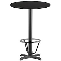 30'' Round Black Laminate Table Top with 22'' x 22'' Bar Height Table Base and Foot Ring