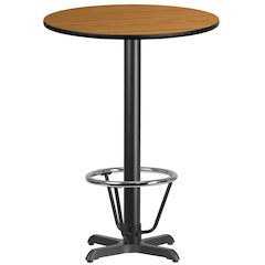 30'' Round Natural Laminate Table Top with 22'' x 22'' Bar Height Table Base and Foot Ring
