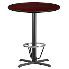 36'' Round Mahogany Laminate Table Top with 30'' x 30'' Bar Height Table Base and Foot Ring