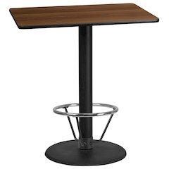 30'' x 42'' Rectangular Walnut Laminate Table Top with 24'' Round Bar Height Table Base and Foot Ring