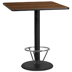 36'' Square Walnut Laminate Table Top with 24'' Round Bar Height Table Base and Foot Ring