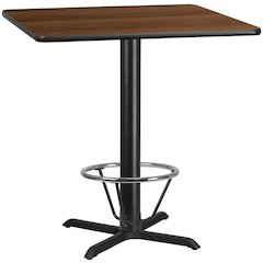 42'' Square Walnut Laminate Table Top with 33'' x 33'' Bar Height Table Base and Foot Ring