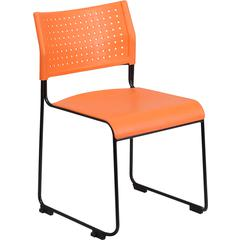 HERCULES Series 600 lb. Capacity Orange Sled Base Stack Chair with Ganging Brackets