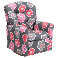 Flash Furniture Kids Gray Flower Printed Fabric Rocker Recliner