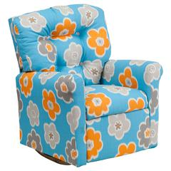 Kids Turquoise Flower Printed Fabric Rocker Recliner