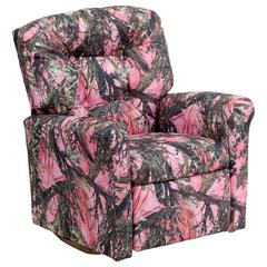 Kids Pink Camouflage Fabric Rocker Recliner