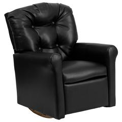 Kids Black Vinyl Rocker Recliner