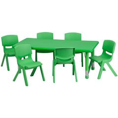 Flash Furniture 24''W x 48''L Adjustable Rectangular Green Plastic Activity Table Set with 6 School Stack Chairs