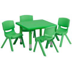 24'' Square Green Plastic Height Adjustable Activity Table Set with 4 Chairs