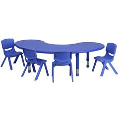 35''W x 65''L Adjustable Half-Moon Blue Plastic Activity Table Set with 4 School Stack Chairs