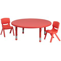 45'' Round Adjustable Red Plastic Activity Table Set with 2 School Stack Chairs