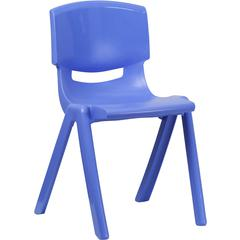 Flash Furniture Blue Plastic Stackable School Chair with 18'' Seat Height