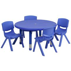 33'' Round Adjustable Blue Plastic Activity Table Set with 4 School Stack Chairs