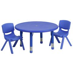 33'' Round Adjustable Blue Plastic Activity Table Set with 2 School Stack Chairs