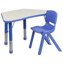 Blue Trapezoid Plastic Activity Table Configuration with 1 School Stack Chair