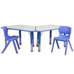 Blue Trapezoid Plastic Activity Table Configuration with 2 School Stack Chairs