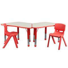 Flash Furniture Red Trapezoid Plastic Activity Table Configuration with 2 School Stack Chairs