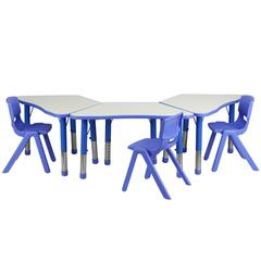 Flash Furniture Blue Trapezoid Plastic Activity Table Configuration with 3 School Stack Chairs
