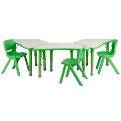 Green Trapezoid Plastic Activity Table Configuration with 3 School Stack Chairs