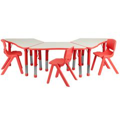 Flash Furniture Red Trapezoid Plastic Activity Table Configuration with 3 School Stack Chairs