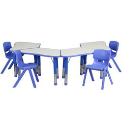 Flash Furniture Blue Trapezoid Plastic Activity Table Configuration with 4 School Stack Chairs