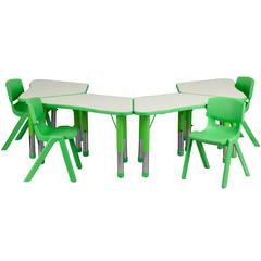 Green Trapezoid Plastic Activity Table Configuration with 4 School Stack Chairs