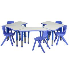 Blue Trapezoid Plastic Activity Table Configuration with 5 School Stack Chairs