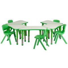 Flash Furniture Green Trapezoid Plastic Activity Table Configuration with 5 School Stack Chairs