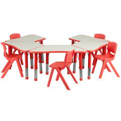 Flash Furniture Red Trapezoid Plastic Activity Table Configuration with 5 School Stack Chairs