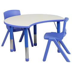 25.125''W x 35.5''L Height Adjustable Cutout Circle Blue Plastic Activity Table Set with 2 School Stack Chairs