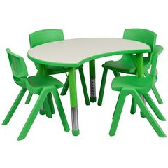 25.125''W x 35.5''L Height Adjustable Cutout Circle Green Plastic Activity Table Set with 4 School Stack Chairs