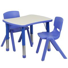 Flash Furniture 21.875''W x 26.625''L Adjustable Rectangular Blue Plastic Activity Table Set with 2 School Stack Chairs