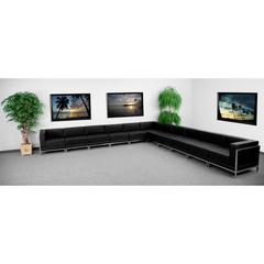 Flash Furniture HERCULES Imagination Series Black Leather Sectional Configuration, 11 Pieces