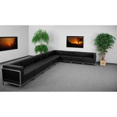 Flash Furniture HERCULES Imagination Series Black Leather Sectional Configuration, 9 Pieces