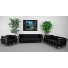HERCULES Imagination Series Black Leather 3 Piece Sofa Set