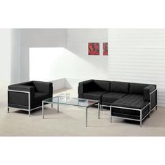 HERCULES Imagination Series Black Leather Sectional & Chair, 5 Pieces