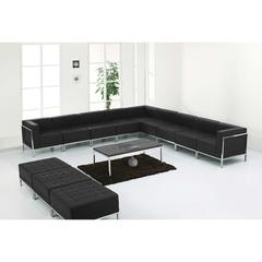 HERCULES Imagination Series Black Leather Sectional & Ottoman Set, 12 Pieces