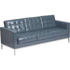 HERCULES Lacey Series Contemporary Gray Leather Sofa with Stainless Steel Frame